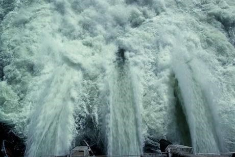 Water shooting from a hydroelectric power plant