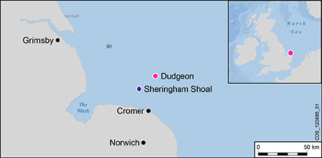 Wind power in Dudgeon UK on a map