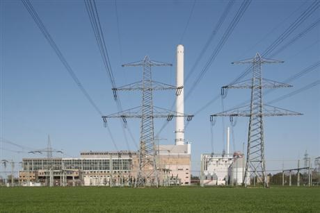Gas power plant in Germany with electrical lines